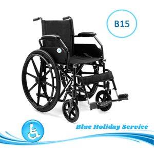 Alquilar silla de ruedas manual de acero para las vacaciones en Gran Canaria