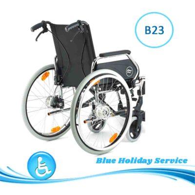 Alquilar silla de ruedas de aluminio con frenos para las vacaciones en Gran Canaria